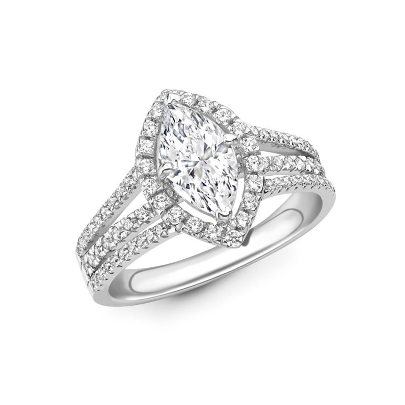 Marquise Cut Diamond Halo Engagement Ring 2.58cts
