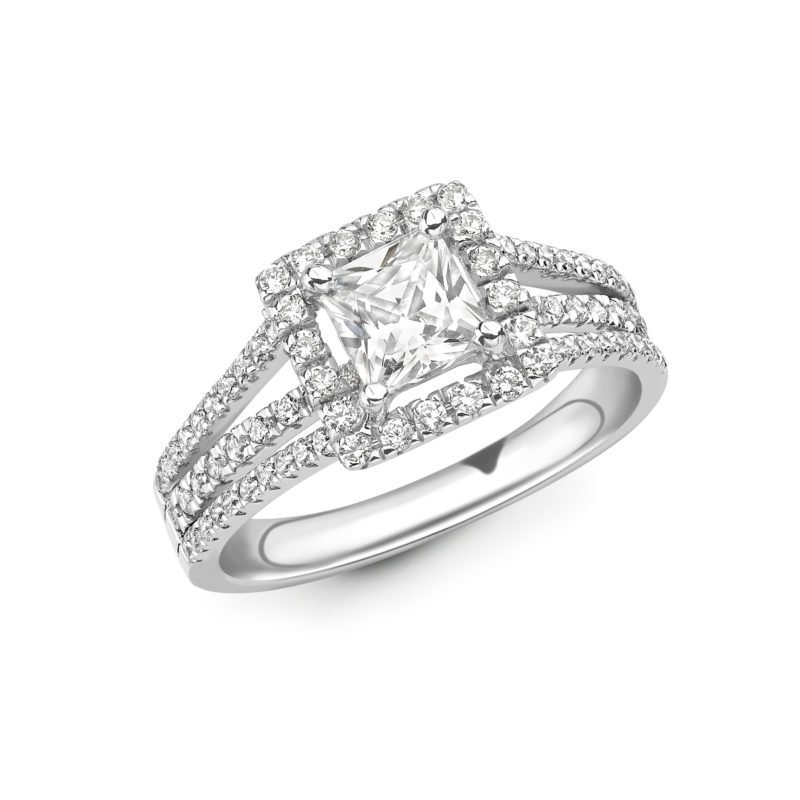 Princess Cut Diamond Halo Engagement Ring 4.56cts