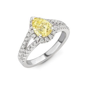 Fancy Yellow Diamond Halo Engagement Ring 1.50cts