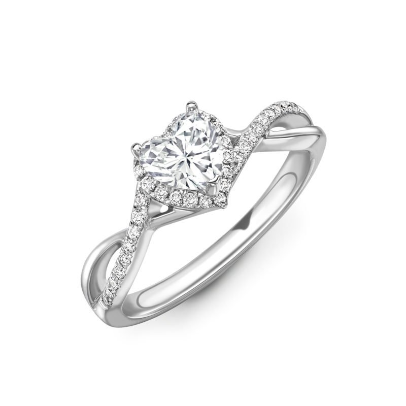 Heart Cut Diamond Halo Twist Engagement Ring 0.56cts