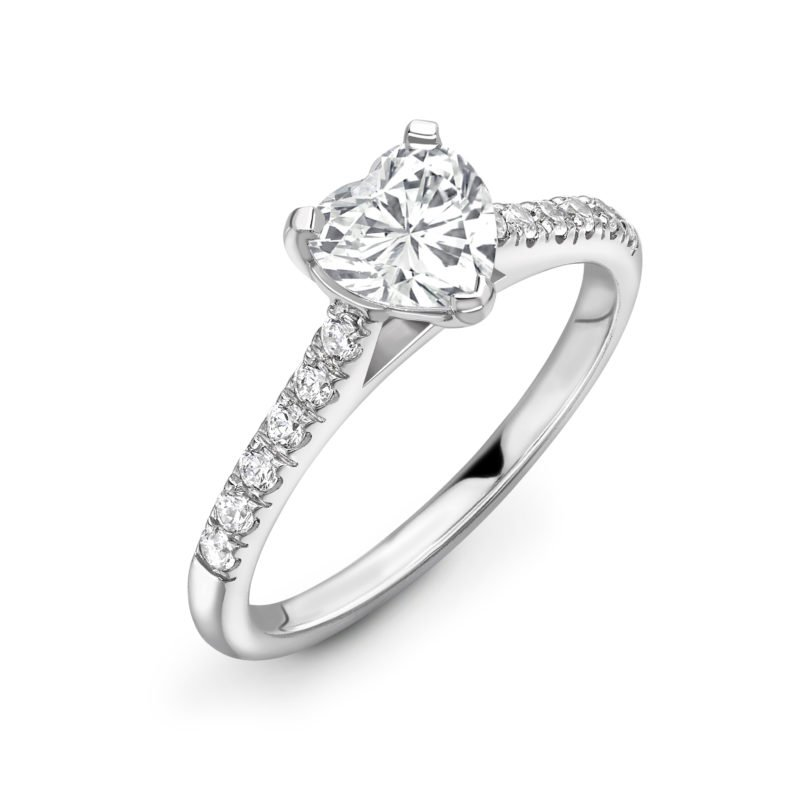 Heart Cut Diamond Solitaire Engagement Ring 0.92cts