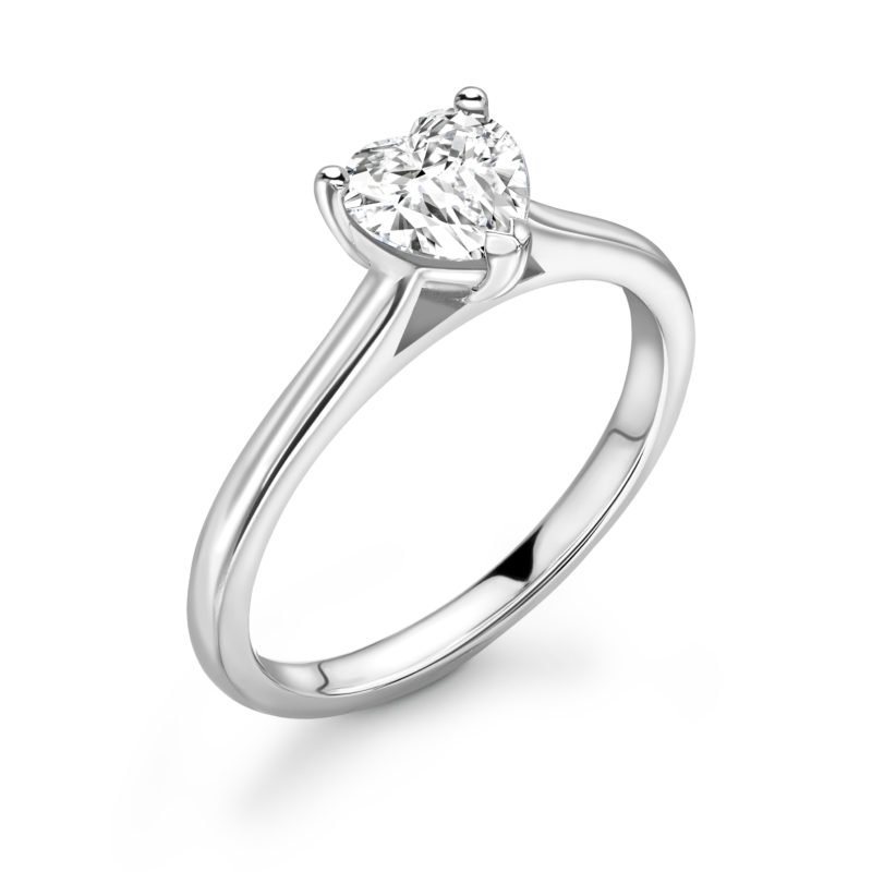 Heart Shaped Diamond Solitaire Engagement Ring 0.75cts