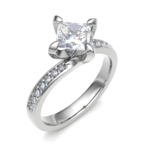 Princess Cut Diamond Twist Engagement Ring 0.44cts