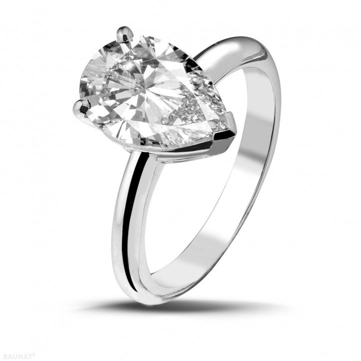 Pear Cut Diamond Solitaire Engagement Ring 3.21cts
