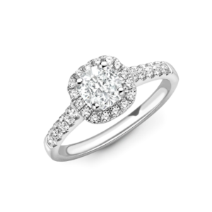 Cushion Cut Diamond Halo Engagement Ring 1.00 Carat