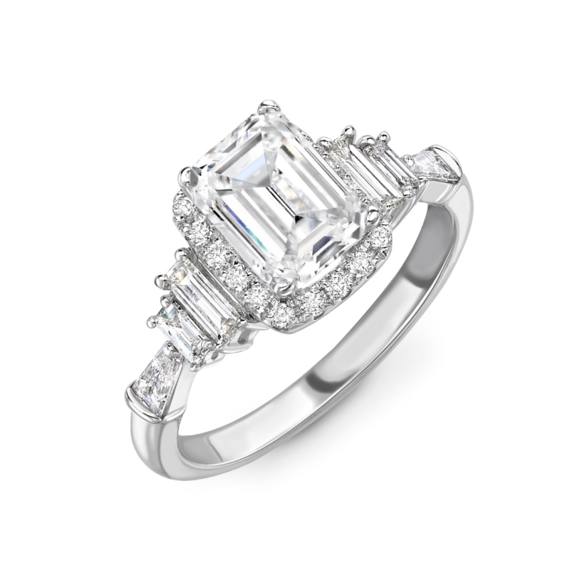 Emerald Cut Diamond Halo Engagement Ring 2.08cts