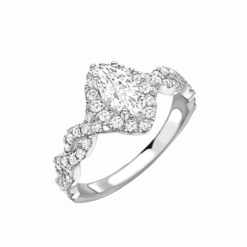 Marquise Cut Diamond Halo Twist Engagement Ring 1.24cts