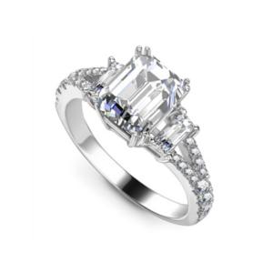 Emerald Cut Three Stone Engagement Ring 1.65cts