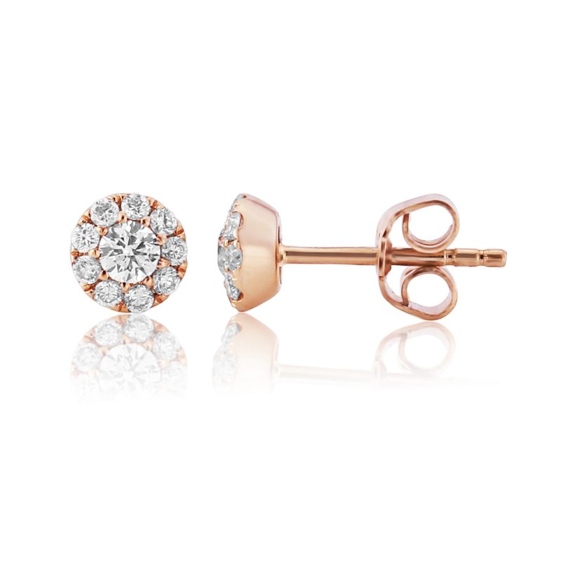 Rose Gold Diamond Halo Earrings 0.45cts