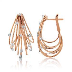 18ct Rose Gold Diamond Hoop Earrings 0.24cts