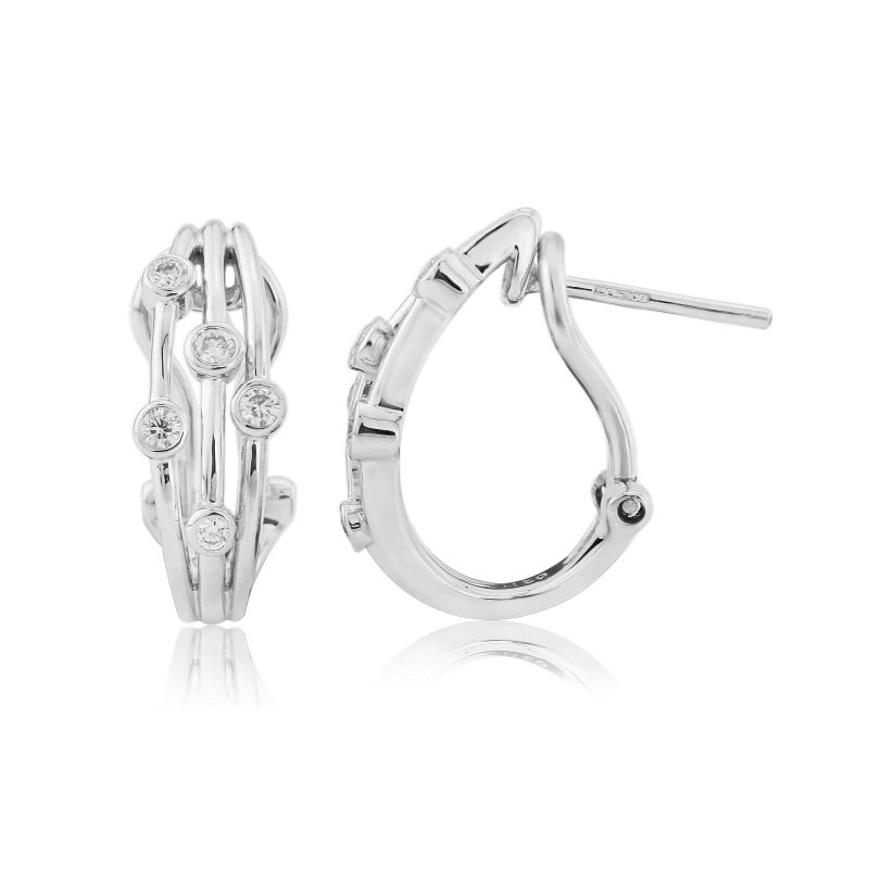 18ct White Gold Scatter Set Diamond Earrings 0.20cts