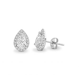 Pear Cut Diamond Halo Earrings 0.60cts