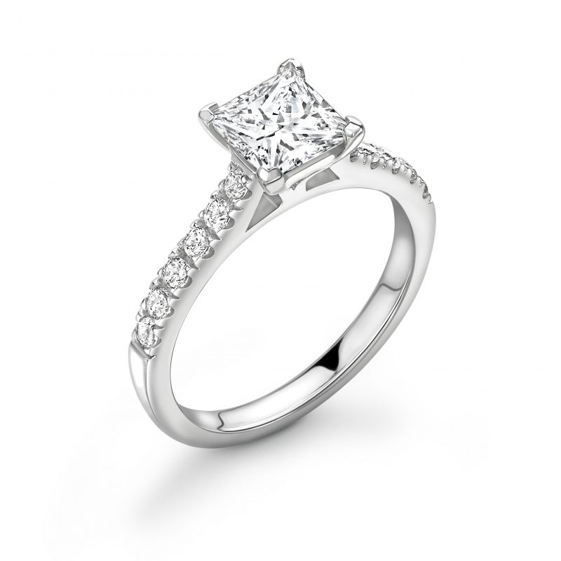 Princess Cut Diamond Solitaire Engagement Ring 0.78cts