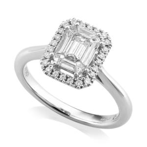 Invisible Set Emerald Cut Diamond Halo Ring 0.67cts