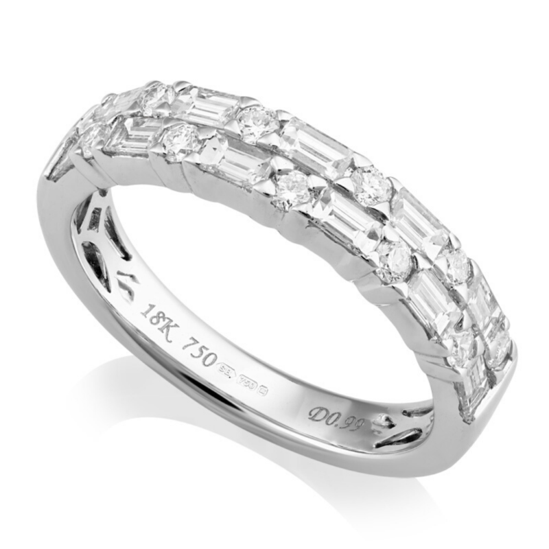 Brilliant and Baguette Cut Diamond Ring 0.99cts