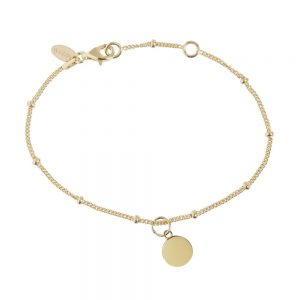 Disc Bead Bracelet with Personalised Initial in Silver
