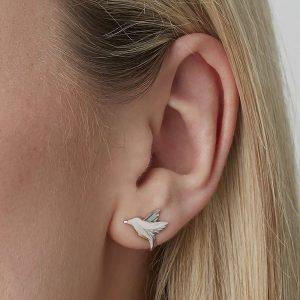 Hummingbird Stud Earrings in Silver