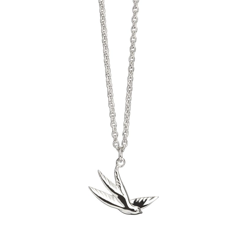 Swallow Charm Necklace in Silver
