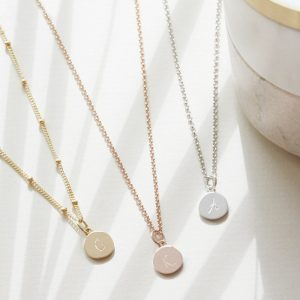 Disc Necklace with Personalised Initial in Silver