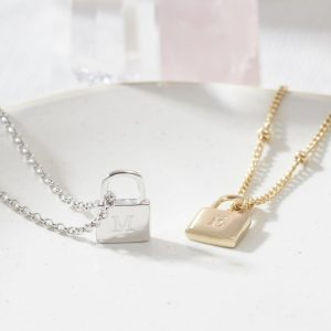 Personalised Padlock Necklace in Gold