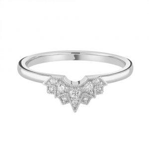Grain Set Diamond Crown Wedding Ring 0.11cts