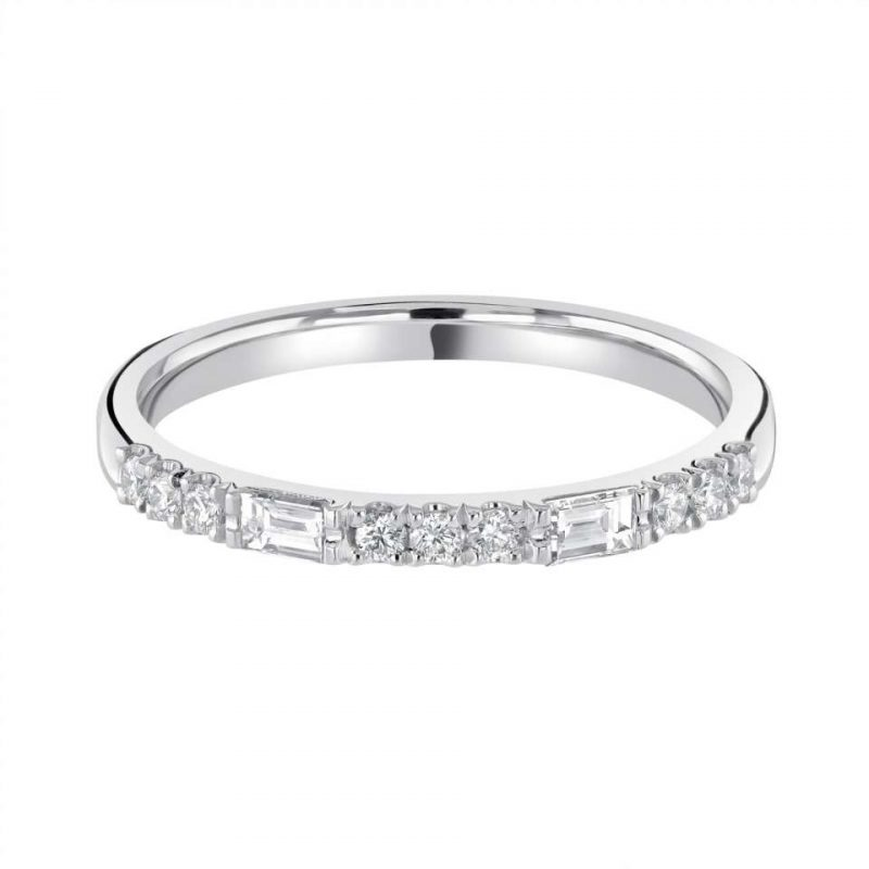 Brilliant and Baguette Claw Set Diamond Ring