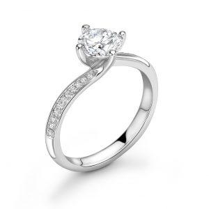 Brilliant Cut Diamond Twist Engagement Ring 0.61cts