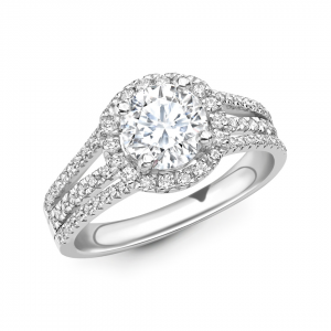 Brilliant Cut Diamond Halo Engagement Ring 2.01cts