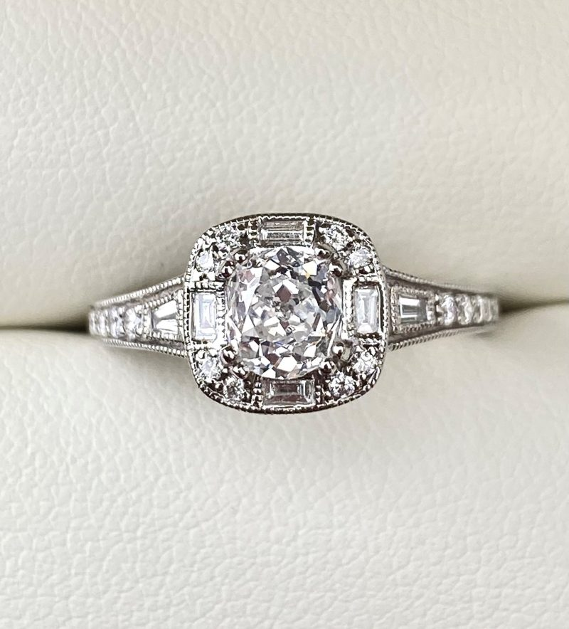 Vintage Style Diamond Halo Engagement Ring 1.01cts