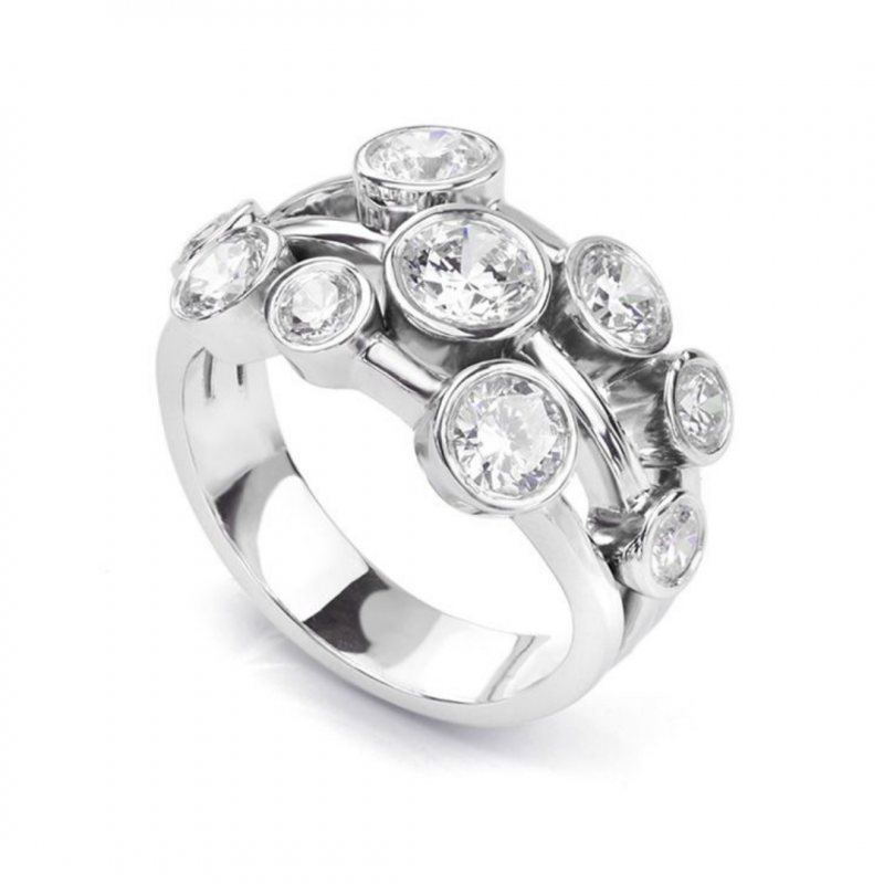 White Gold and Diamond Bubble Ring 2.00cts