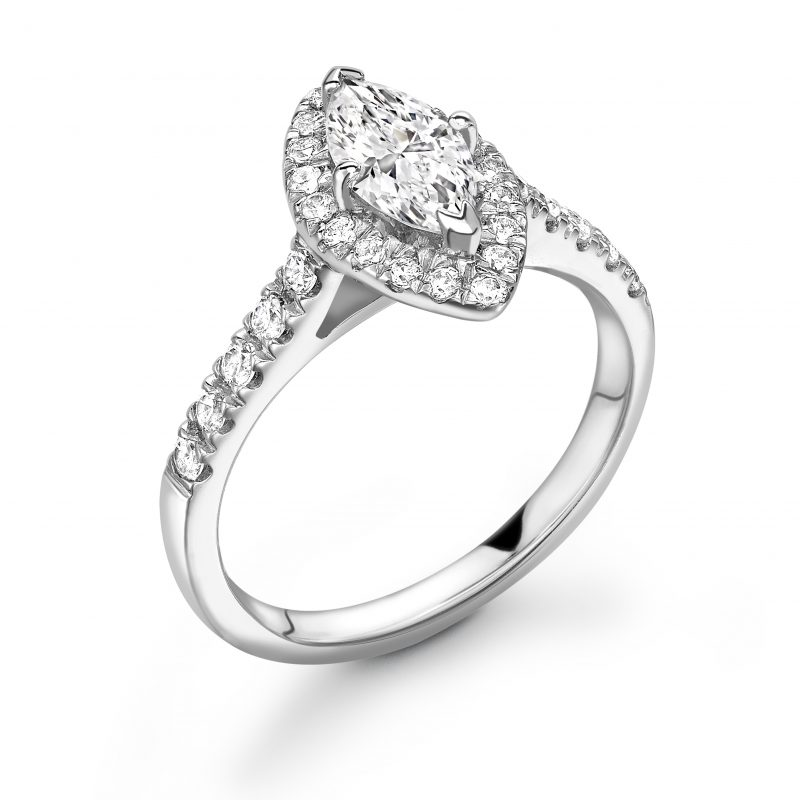Marquise Diamond Halo Engagement Ring 0.50cts