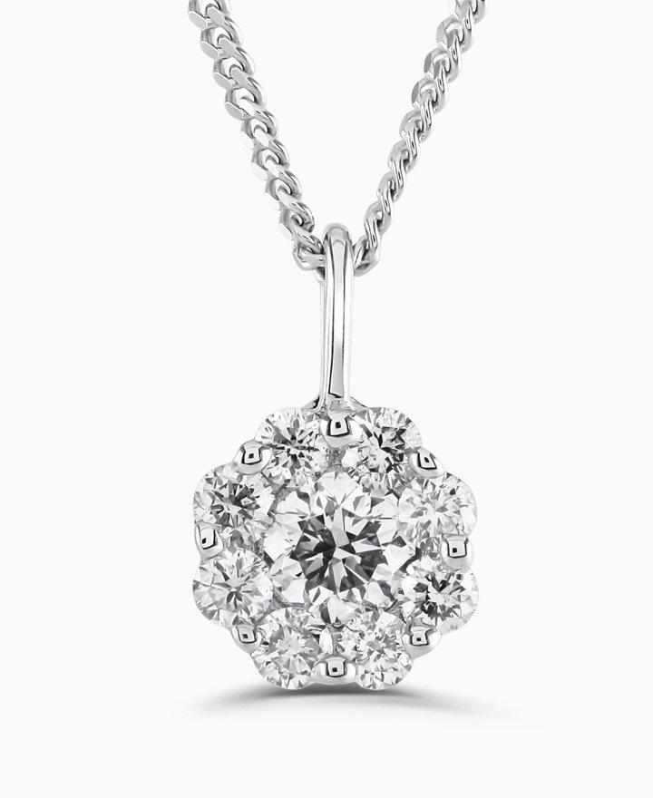 White Gold Diamond Cluster Pendant 0.50cts