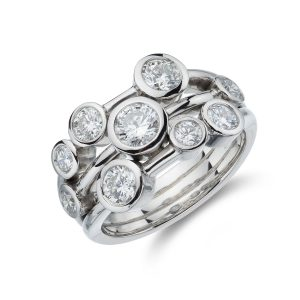 White Gold and Diamond Bubble Ring 1.50cts