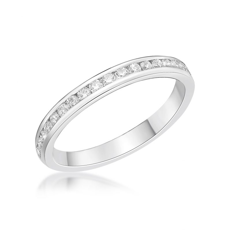 Platinum and Diamond Channel Set Ring 0.15cts