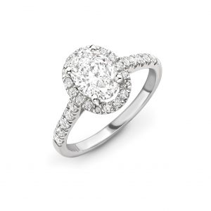 Oval Diamond Halo Engagement Ring 0.50cts