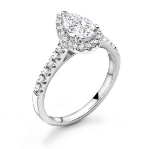 Pear Diamond Halo Engagement Ring 0.50cts