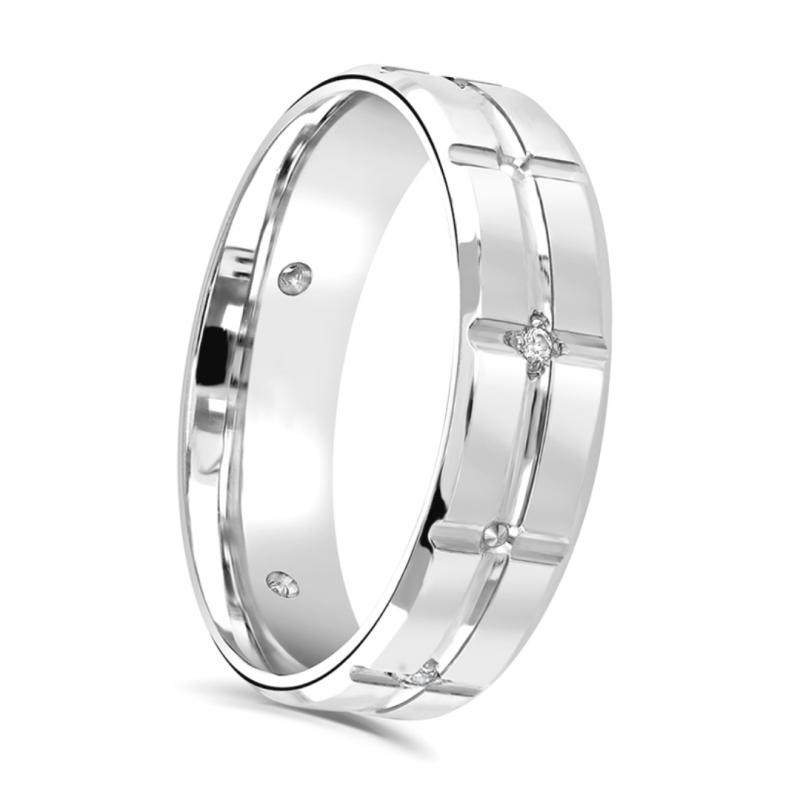 Gents Platinum and Diamond Wedding Ring