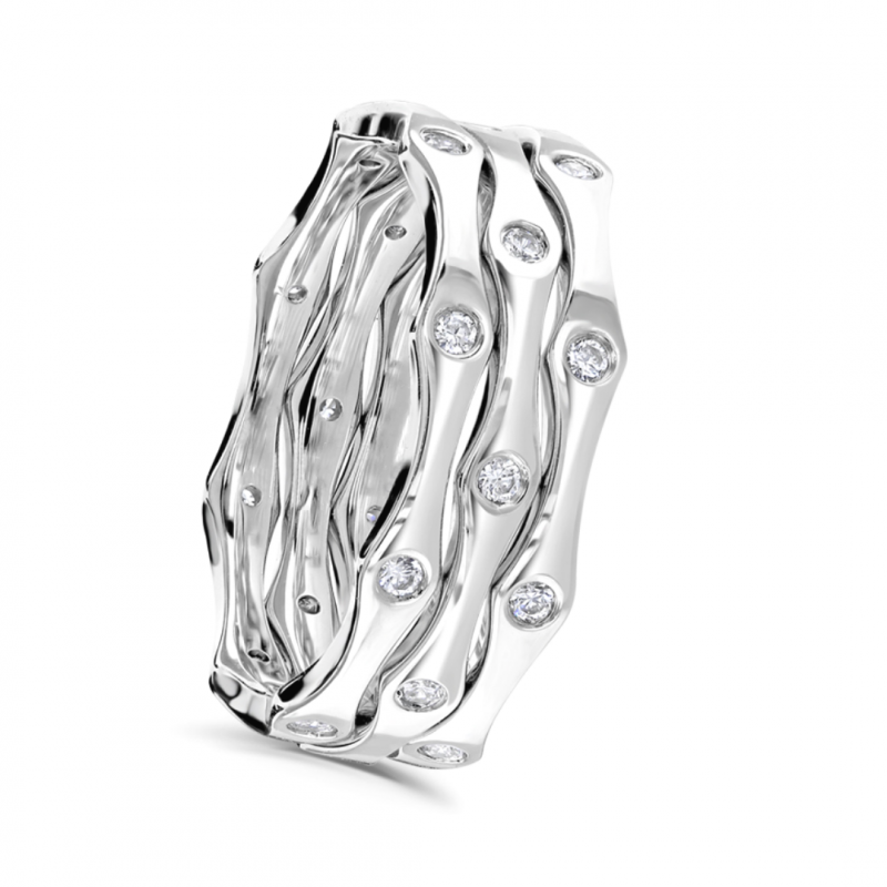 White Gold and Diamond Triple Row Ring 0.30cts