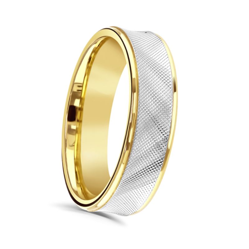 Gents Two Tone Patterned Wedding Ring