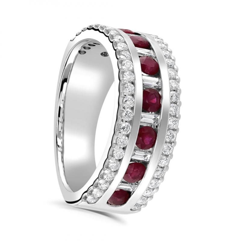 Three Row Diamond and Ruby Ring 1.30cts