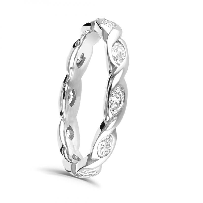 Marquise Cut Diamond Full Hoop Twist Ring 0.60cts