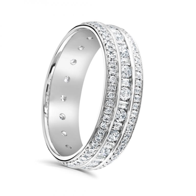 Three Row Diamond Full Hoop Eternity Ring 1.25cts
