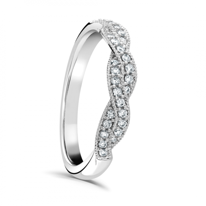 Grain Set Diamond Twist Ring 0.22cts