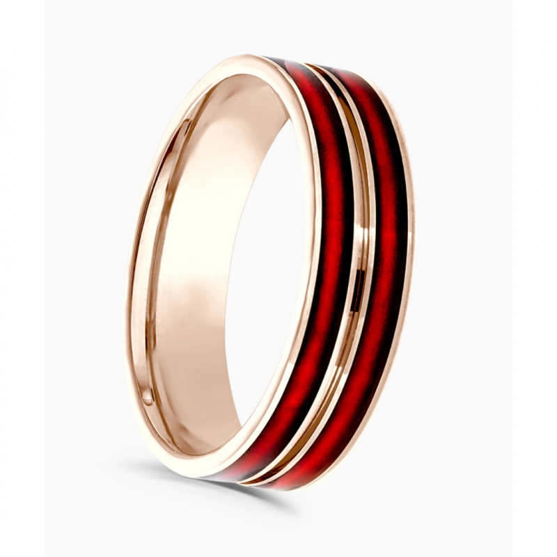 Gents Rose Gold and Red Ceramic Wedding Ring