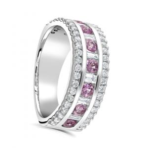 Three Row Diamond and Pink Sapphire Ring 1.30cts