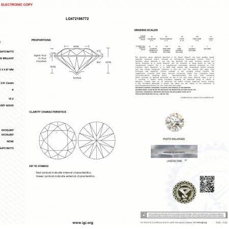 3.00cts Brilliant Cut Lab Diamond Engagement Ring