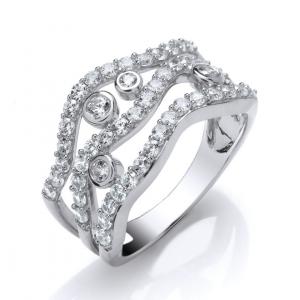 Three Row White Gold Diamond Dress Ring 1.00cts
