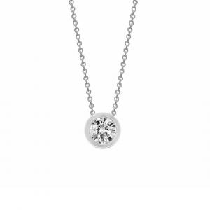 18ct White Gold Diamond Rubover Pendant